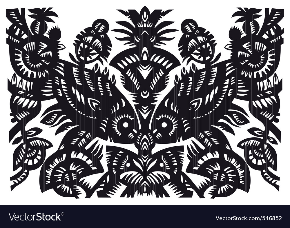 Fish woodcut pattern vector | Price: 1 Credit (USD $1)