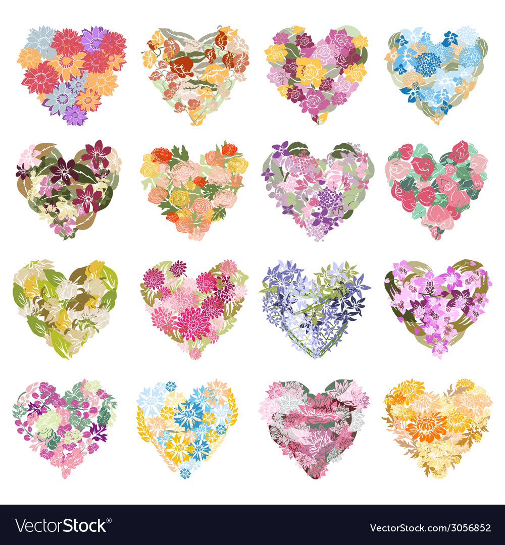 Floral hearts set vector | Price: 1 Credit (USD $1)