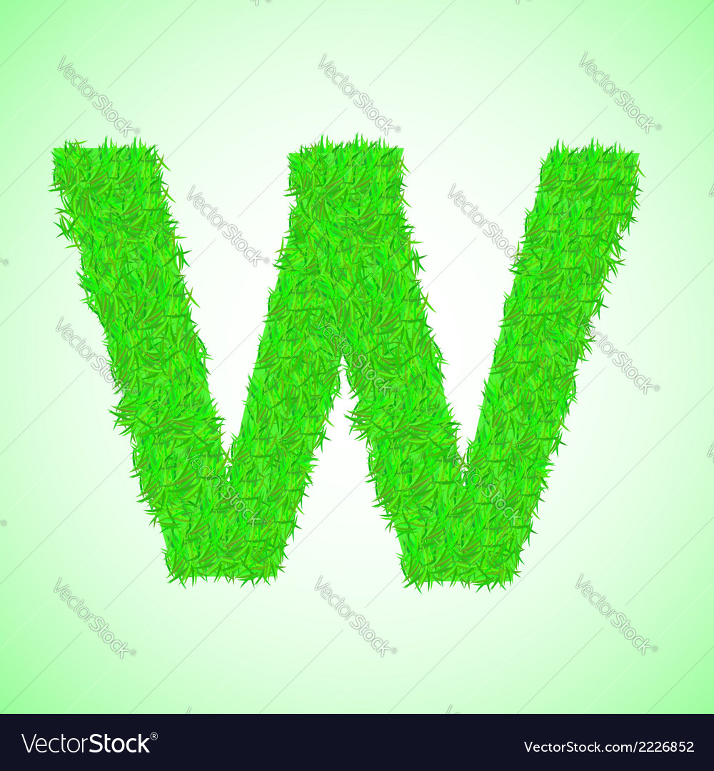 Grass letter w vector | Price: 1 Credit (USD $1)
