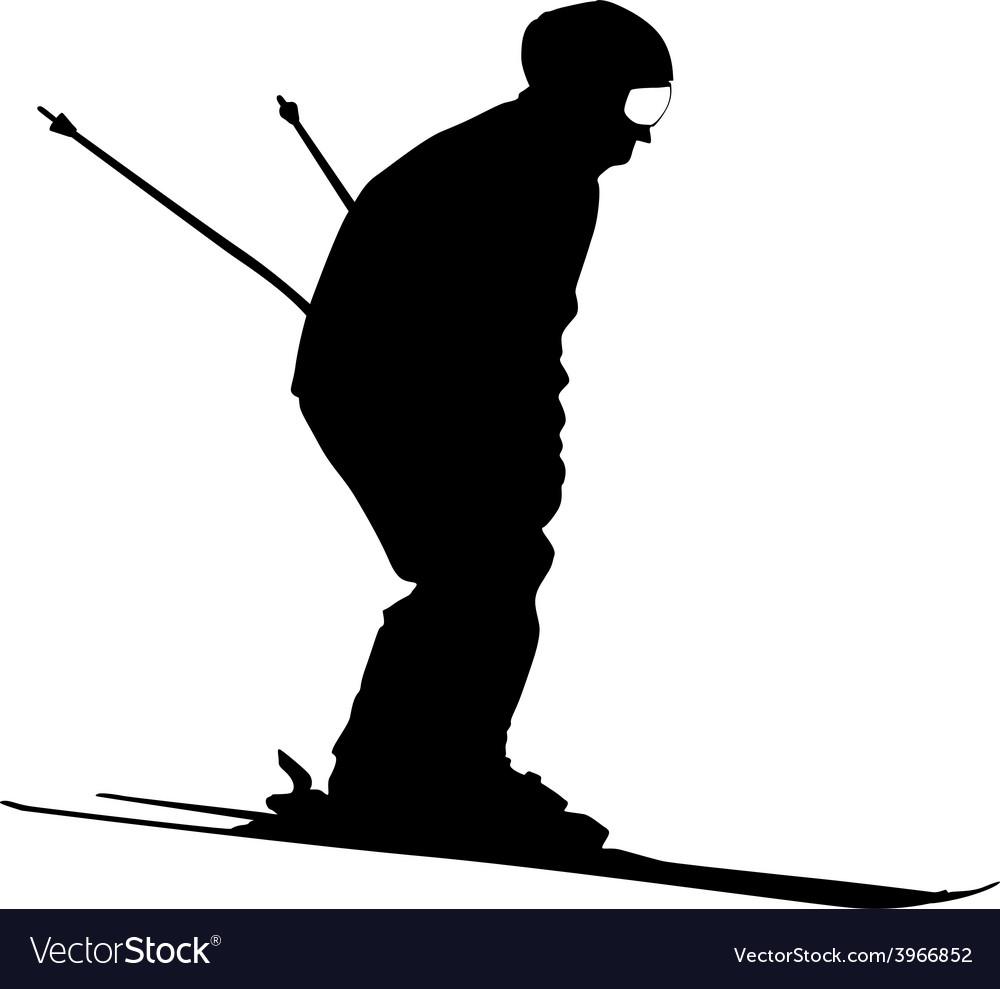 Mountain skier speeding down slope sport vector | Price: 1 Credit (USD $1)