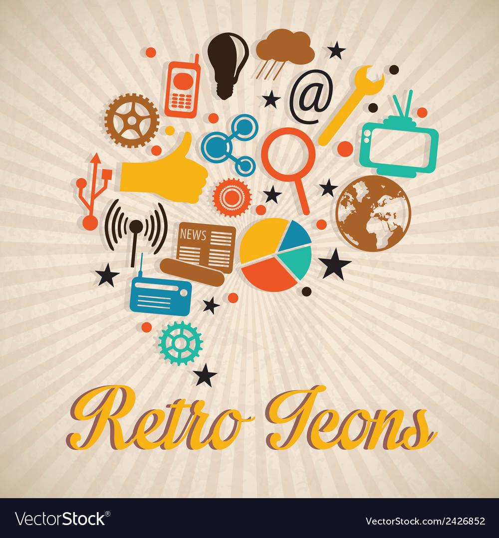 Retro icons vector | Price: 1 Credit (USD $1)
