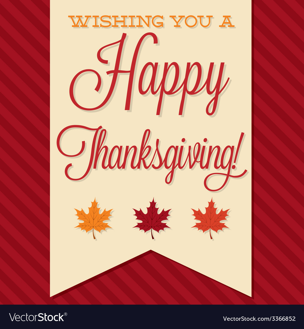 Sash happy thanksgiving card in format vector | Price: 1 Credit (USD $1)