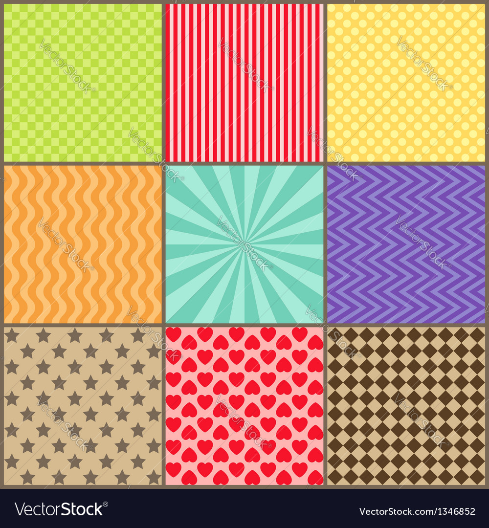 Set of nine simple geometric patterns vector | Price: 1 Credit (USD $1)