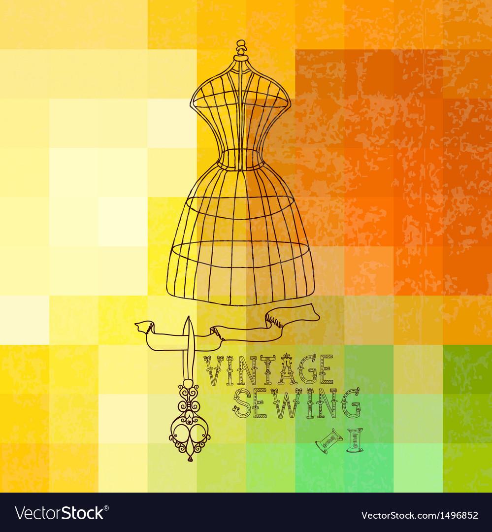Vintage sewing vector | Price: 1 Credit (USD $1)