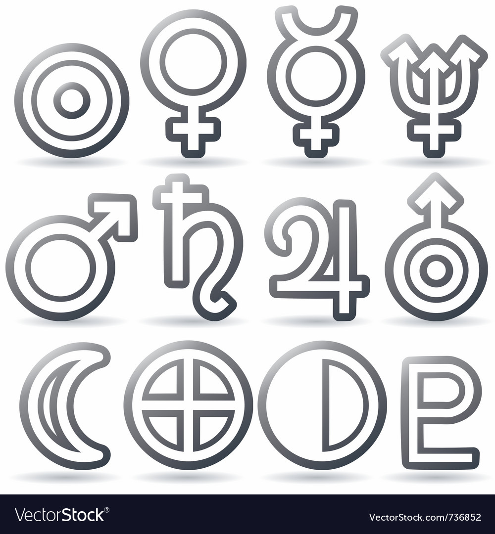 Zodiac and astrology symbols of the planets vector | Price: 1 Credit (USD $1)