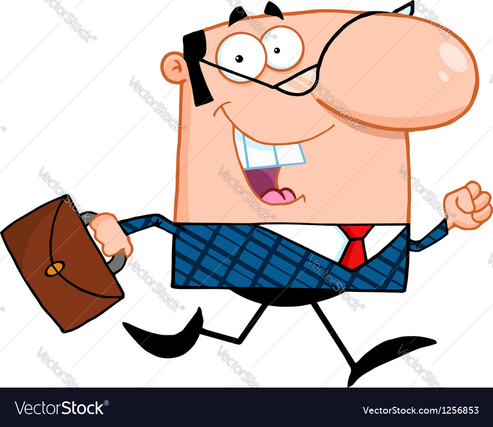 Business manager running to work with briefcase vector | Price: 1 Credit (USD $1)