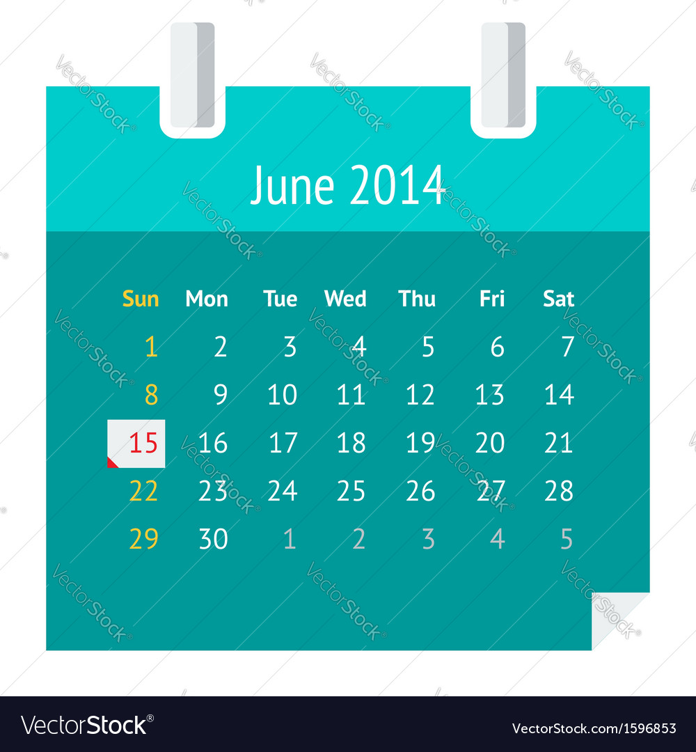 Flat calendar page for june 2014 vector | Price: 1 Credit (USD $1)
