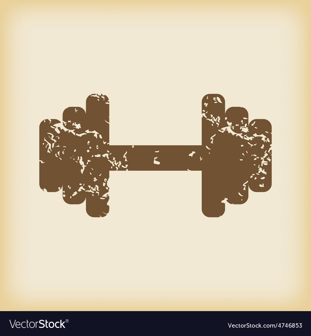 Grungy barbell icon vector | Price: 1 Credit (USD $1)