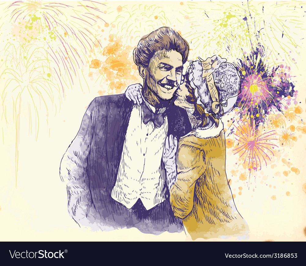 Happy new year - the kiss vector | Price: 1 Credit (USD $1)