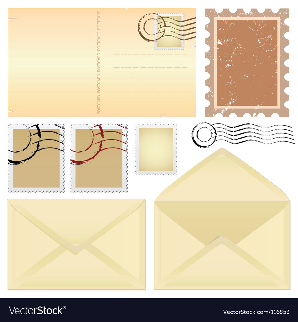 Postcard and stamps vector | Price: 1 Credit (USD $1)