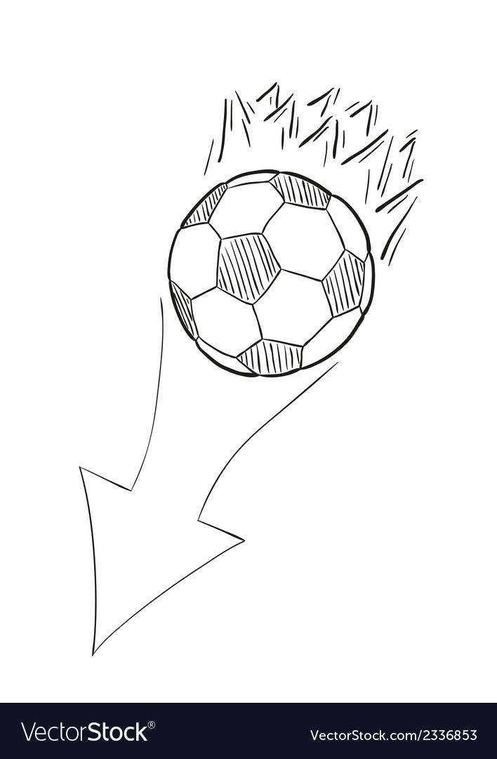 Sketch of the flying football ball with flames and vector | Price: 1 Credit (USD $1)