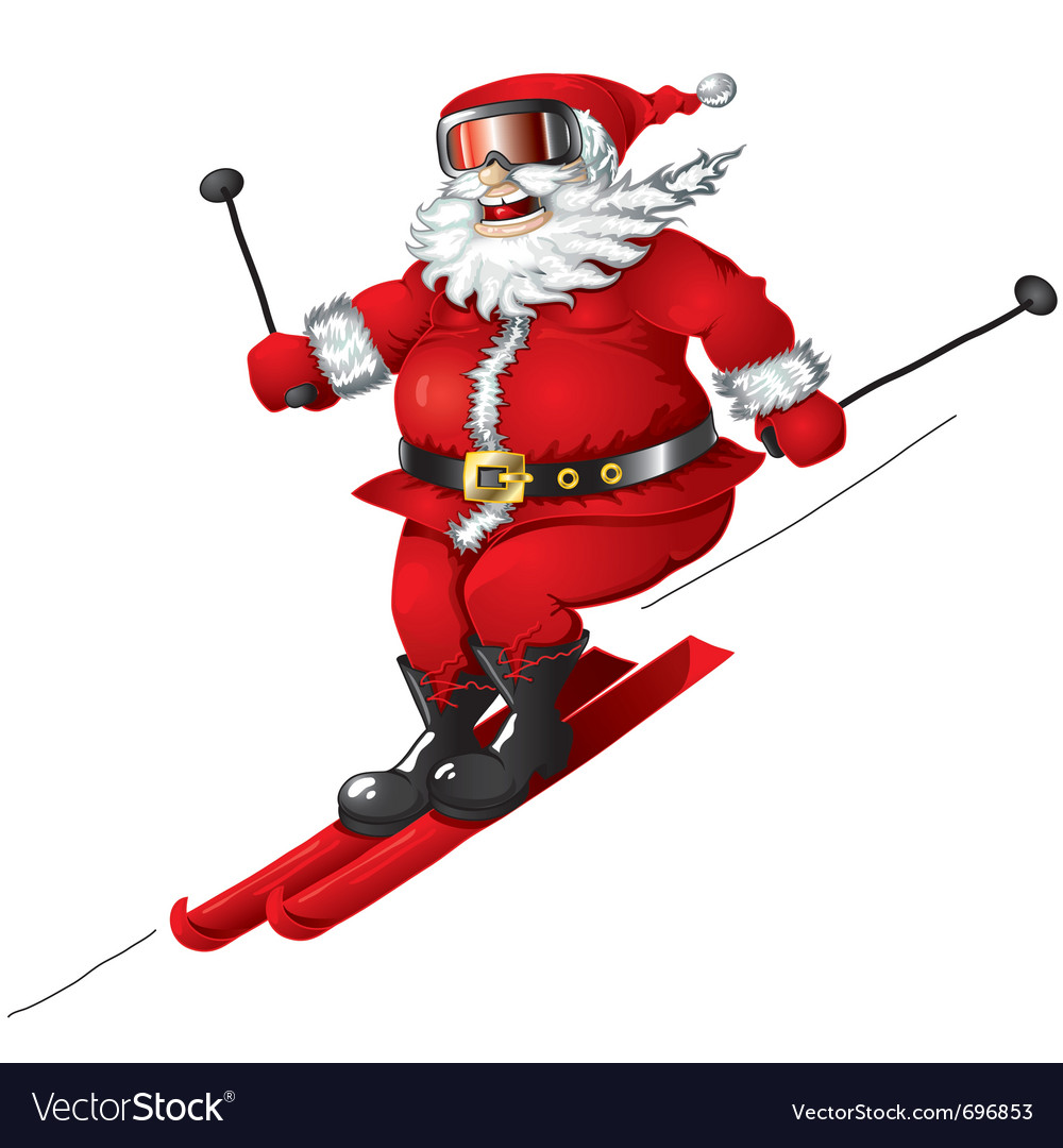 Skiing santa isolated vector | Price: 3 Credit (USD $3)