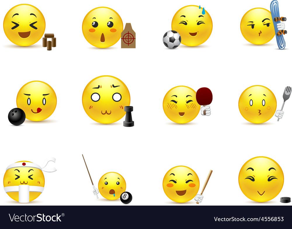 Sports anime smiles vector | Price: 1 Credit (USD $1)
