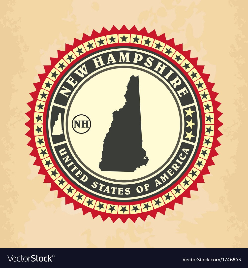 Vintage label-sticker cards of new hampshire vector | Price: 1 Credit (USD $1)