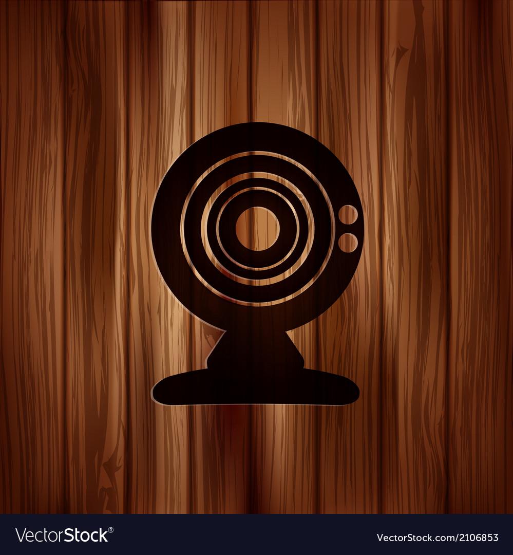 Web camera icon wooden texture vector | Price: 1 Credit (USD $1)