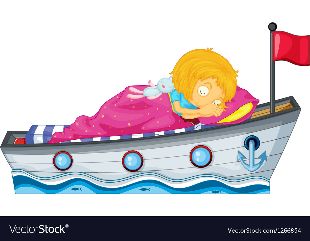 A girl sleeping in a ship with a pink blanket vector | Price: 1 Credit (USD $1)