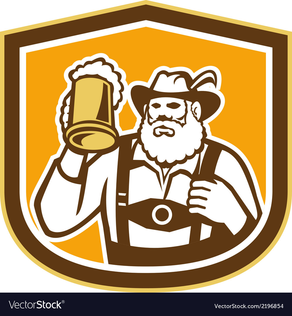 Bavarian beer drinker mug shield retro vector | Price: 1 Credit (USD $1)