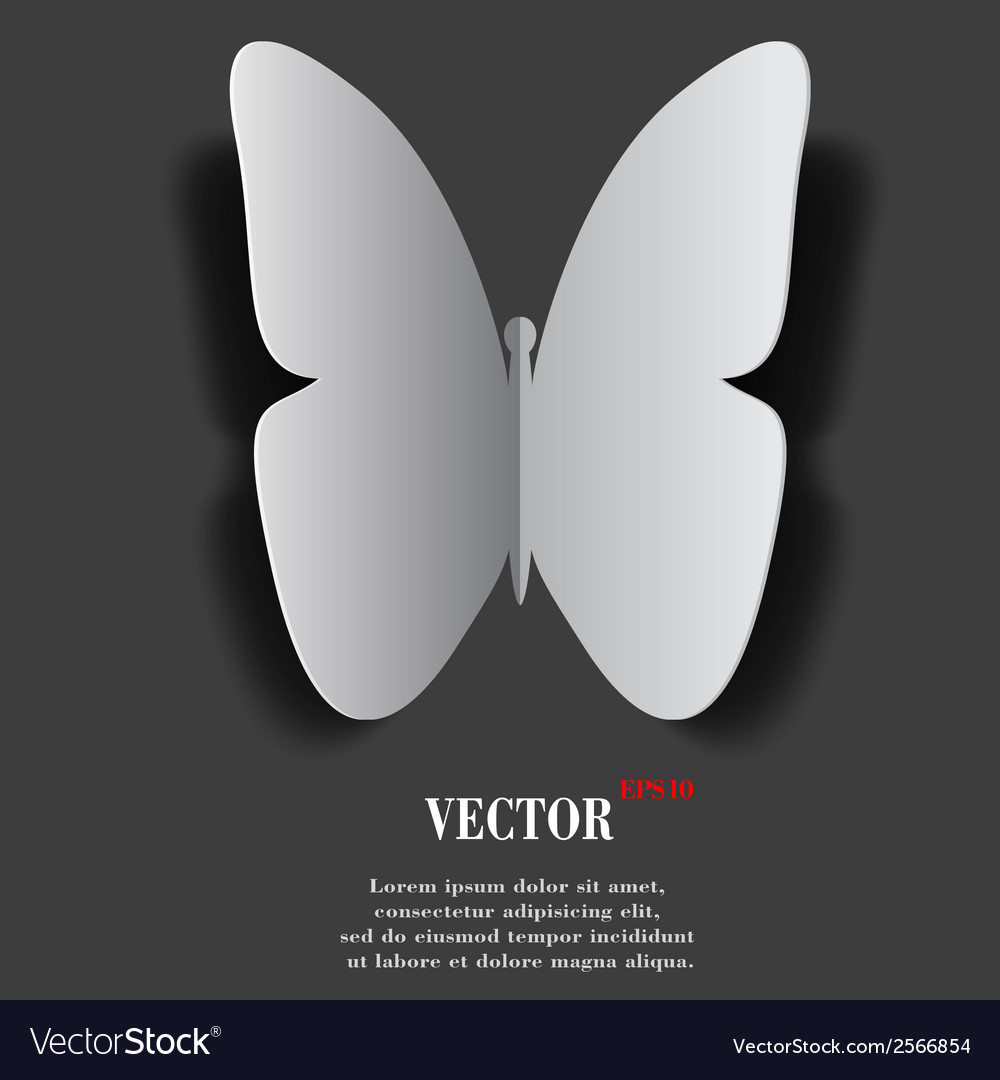 Butterfly flat modern web button with long shadow vector | Price: 1 Credit (USD $1)