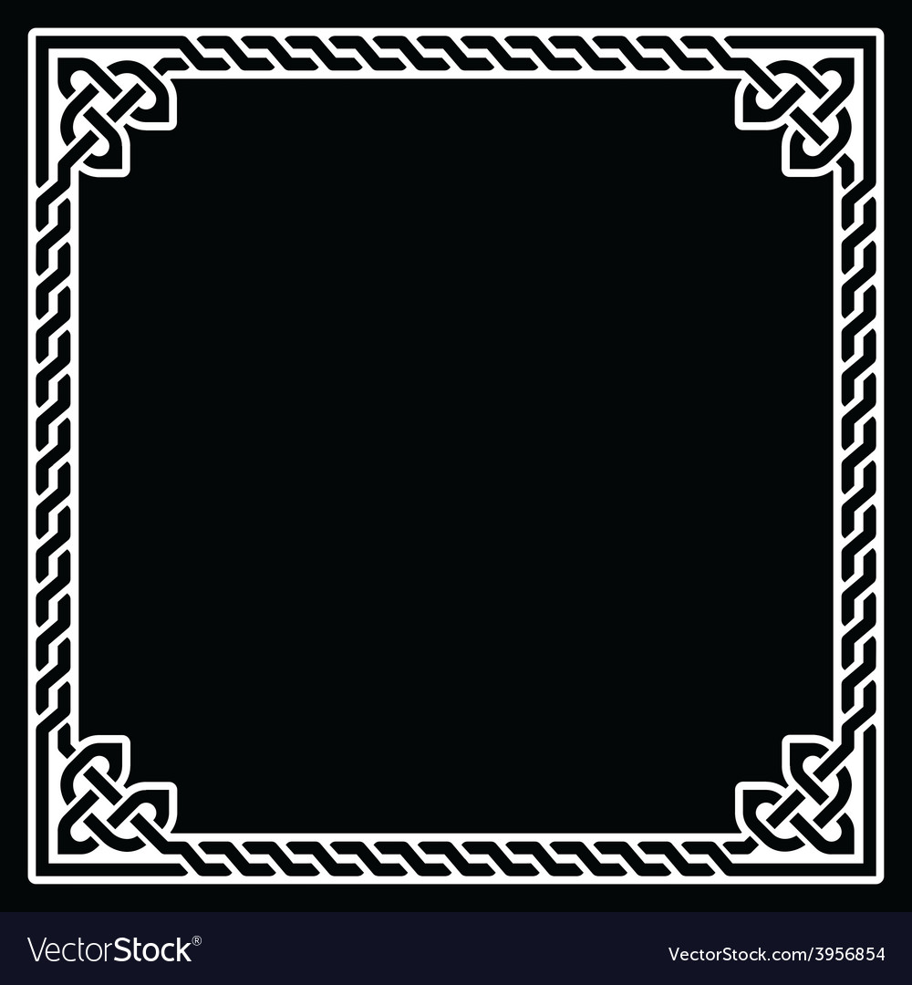 Celtic frame border white pattern on black vector | Price: 1 Credit (USD $1)