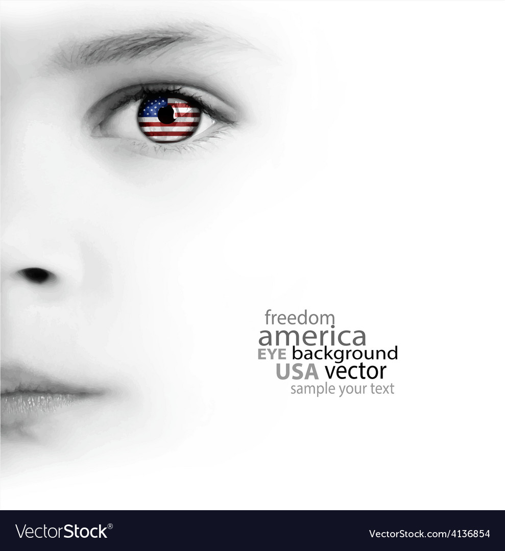 Childs face eye and american flag vector | Price: 1 Credit (USD $1)
