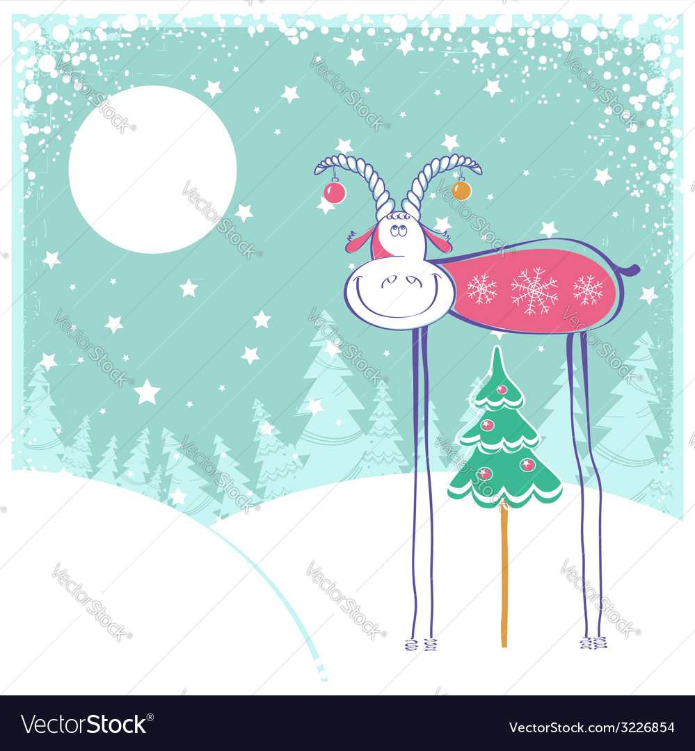 Christmas card with goat in winter landscape vector | Price: 1 Credit (USD $1)