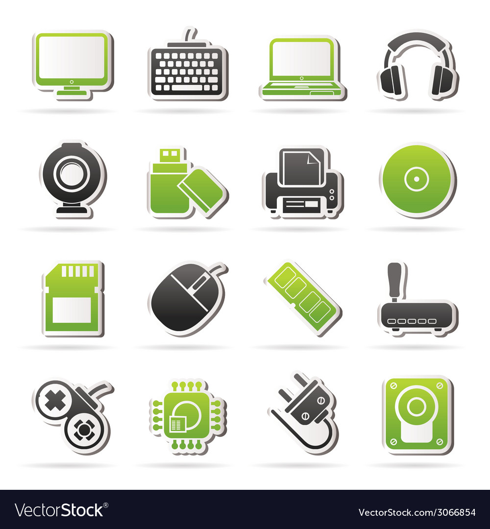 Computer peripherals and accessories icons vector | Price: 1 Credit (USD $1)