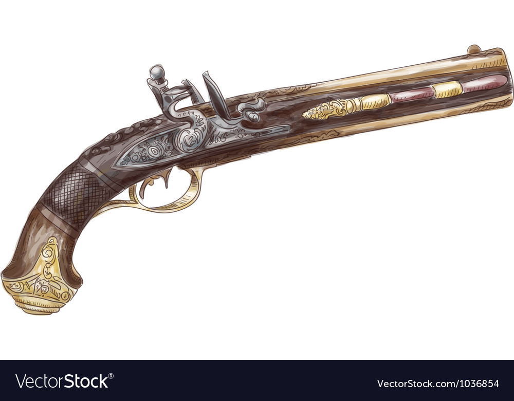 Dutch two barrel flintlock pistol by johann kuchen vector | Price: 1 Credit (USD $1)