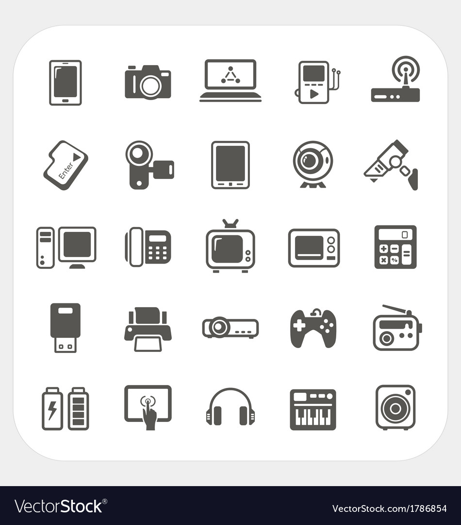 Electronic device icons set vector | Price: 1 Credit (USD $1)