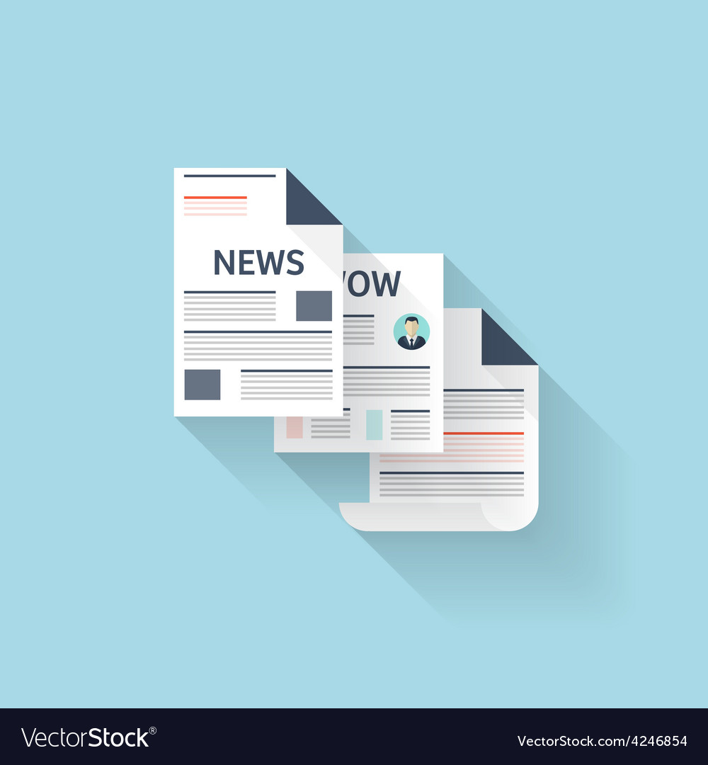 Flat web icon newspaper vector