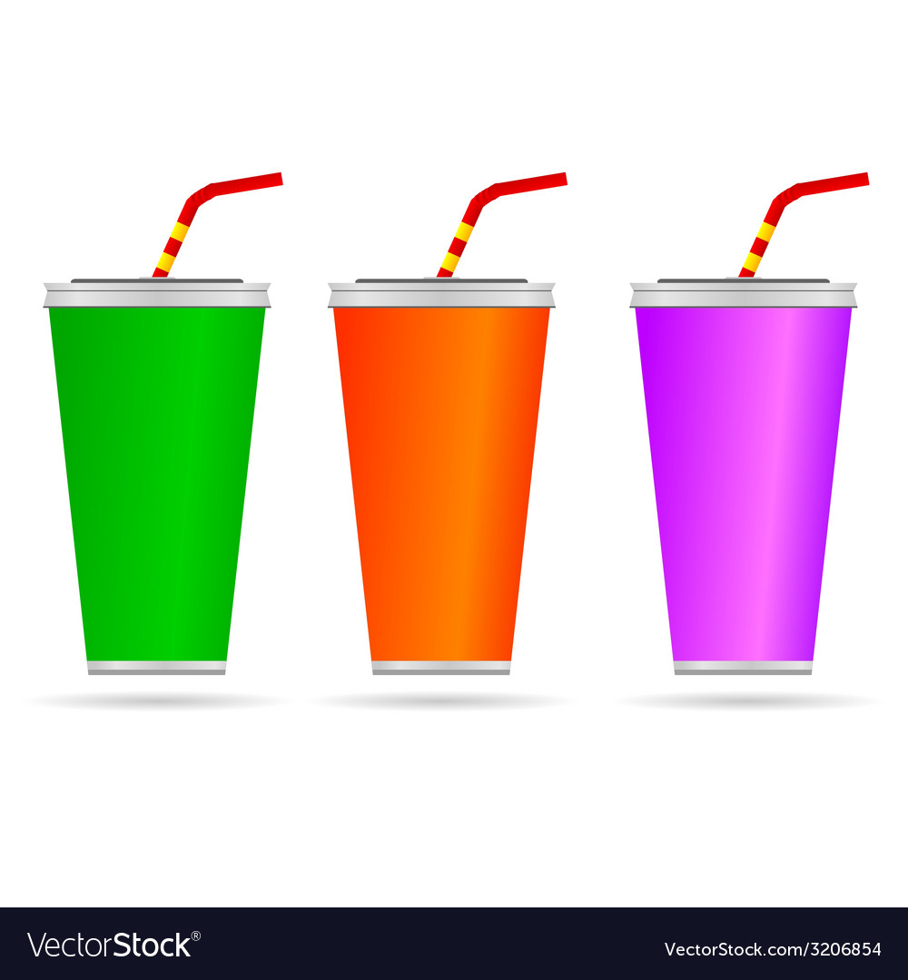 Glass of juice with a straw color vector | Price: 1 Credit (USD $1)