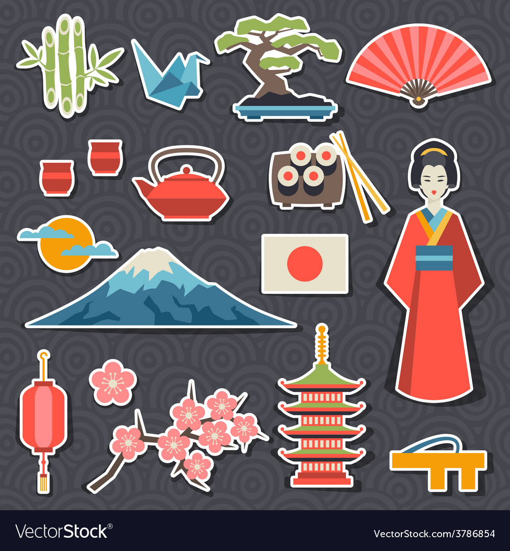 Japan icons and symbols set vector