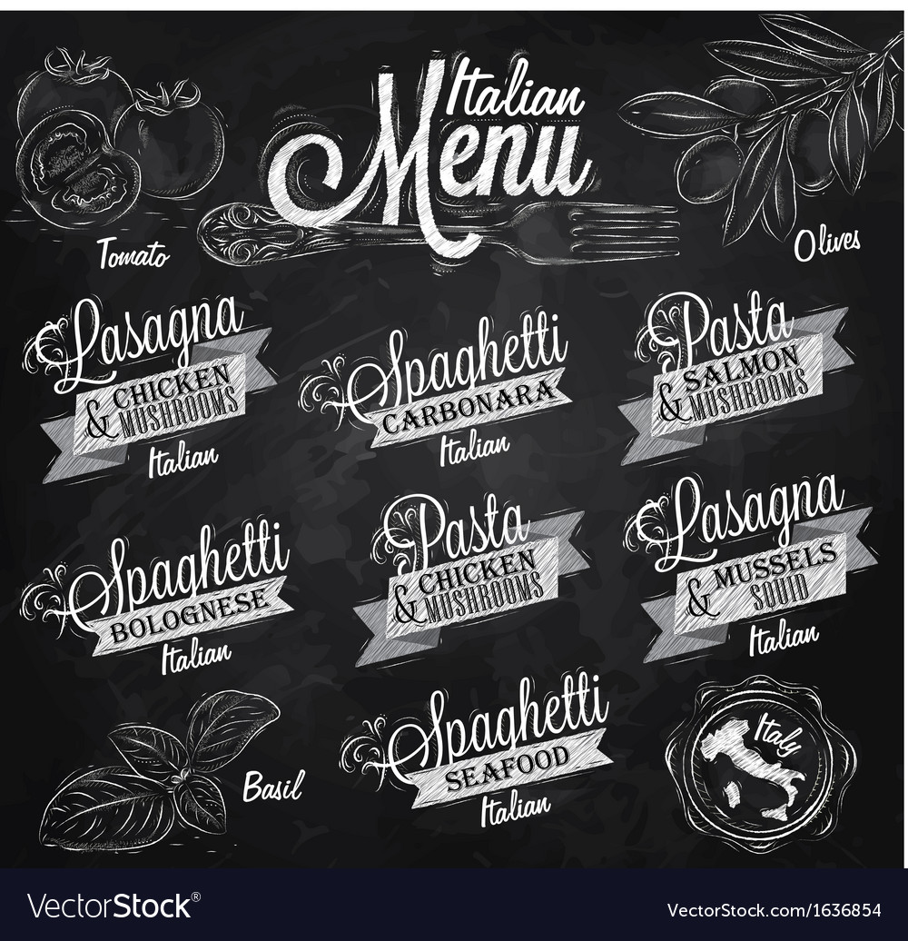 Menu italian chalk vector | Price: 1 Credit (USD $1)