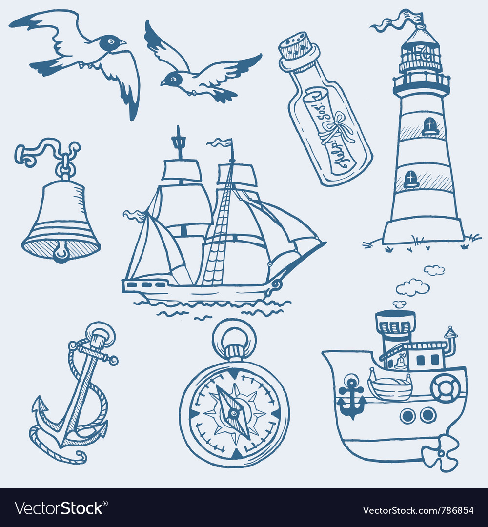 Nautical doodles vector | Price: 1 Credit (USD $1)