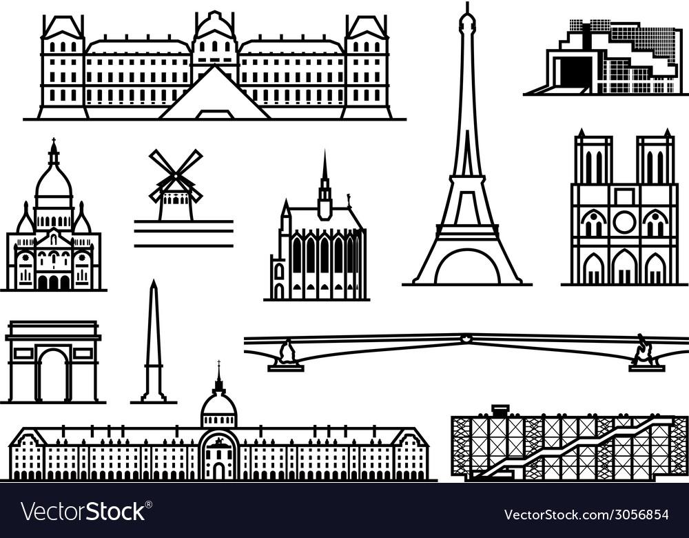 Paris monuments vector | Price: 1 Credit (USD $1)