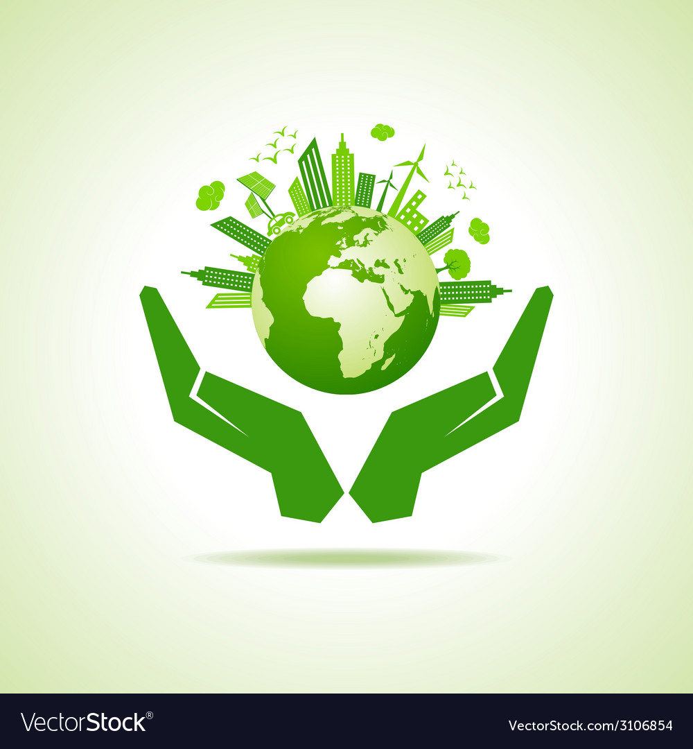 Save nature concept with eco cityscape stock vector | Price: 1 Credit (USD $1)