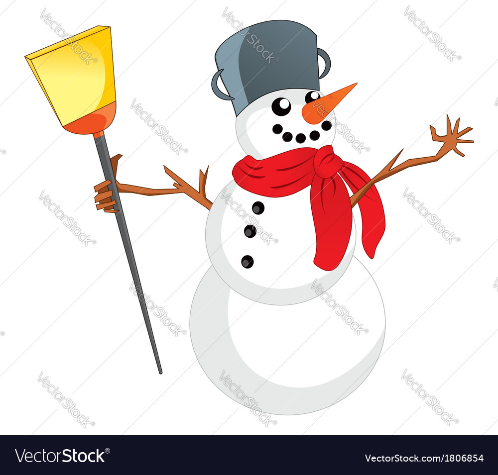 Snowman with scarf vector | Price: 1 Credit (USD $1)