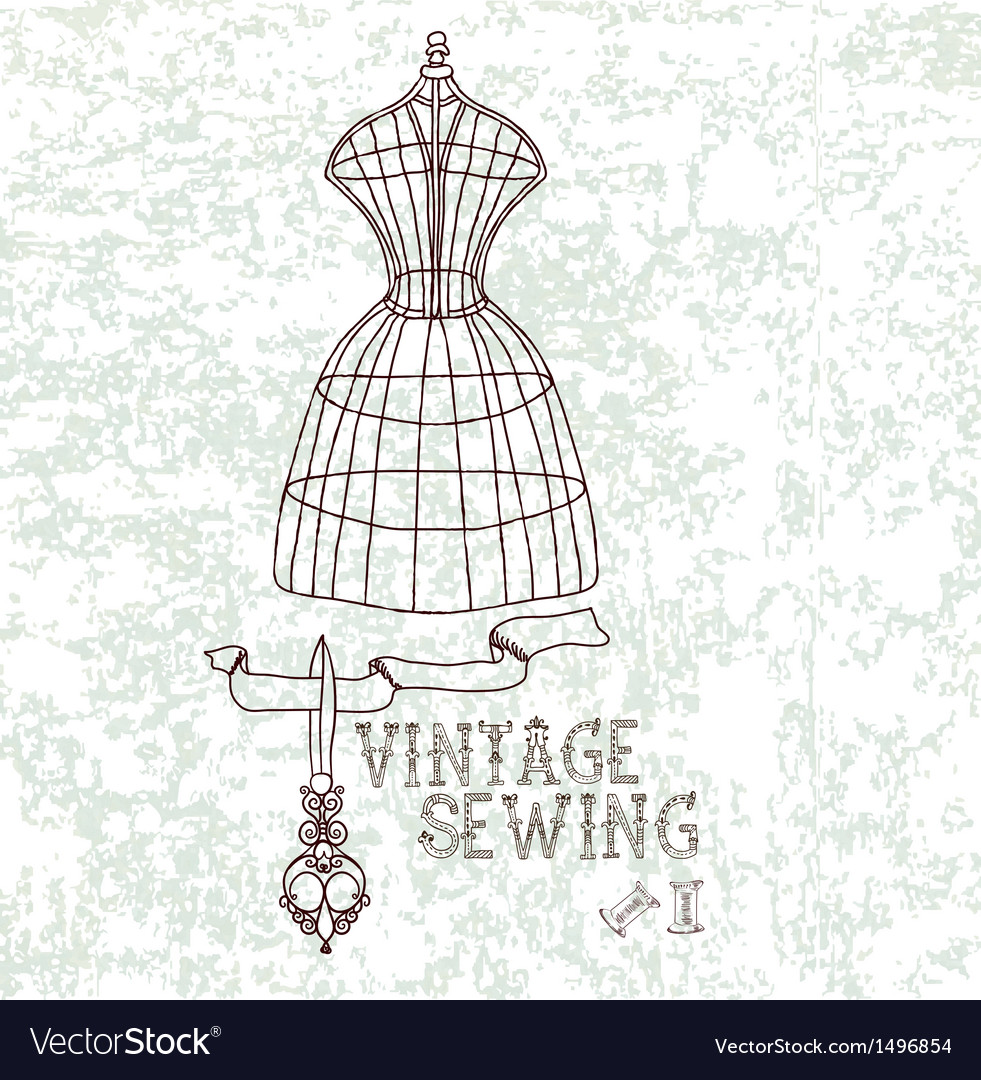 Vintage sewing vector | Price: 1 Credit (USD $1)