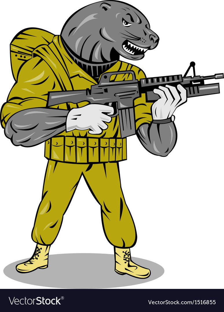 Alien military with gun vector | Price: 1 Credit (USD $1)