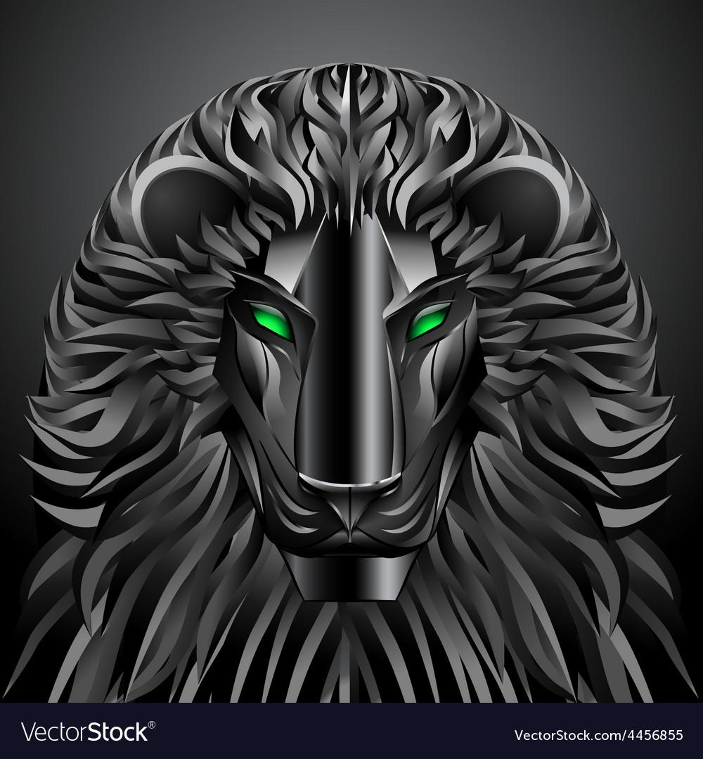 Animals lion black technology cyborg metal robot vector | Price: 1 Credit (USD $1)