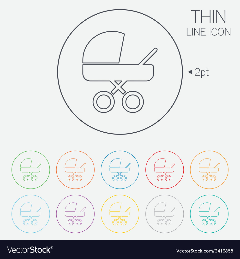 Baby pram stroller sign icon baby buggy symbol vector | Price: 1 Credit (USD $1)