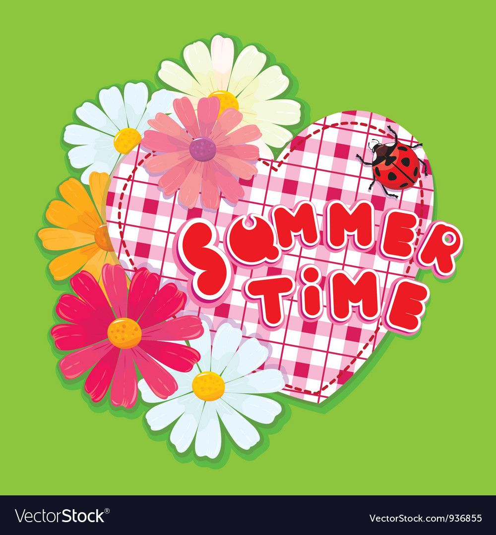 Checkered heart ladybird and daisies on a green b vector | Price: 1 Credit (USD $1)