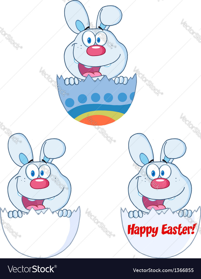 Cute blue bunny collection vector   Price: 1 Credit (USD $1)