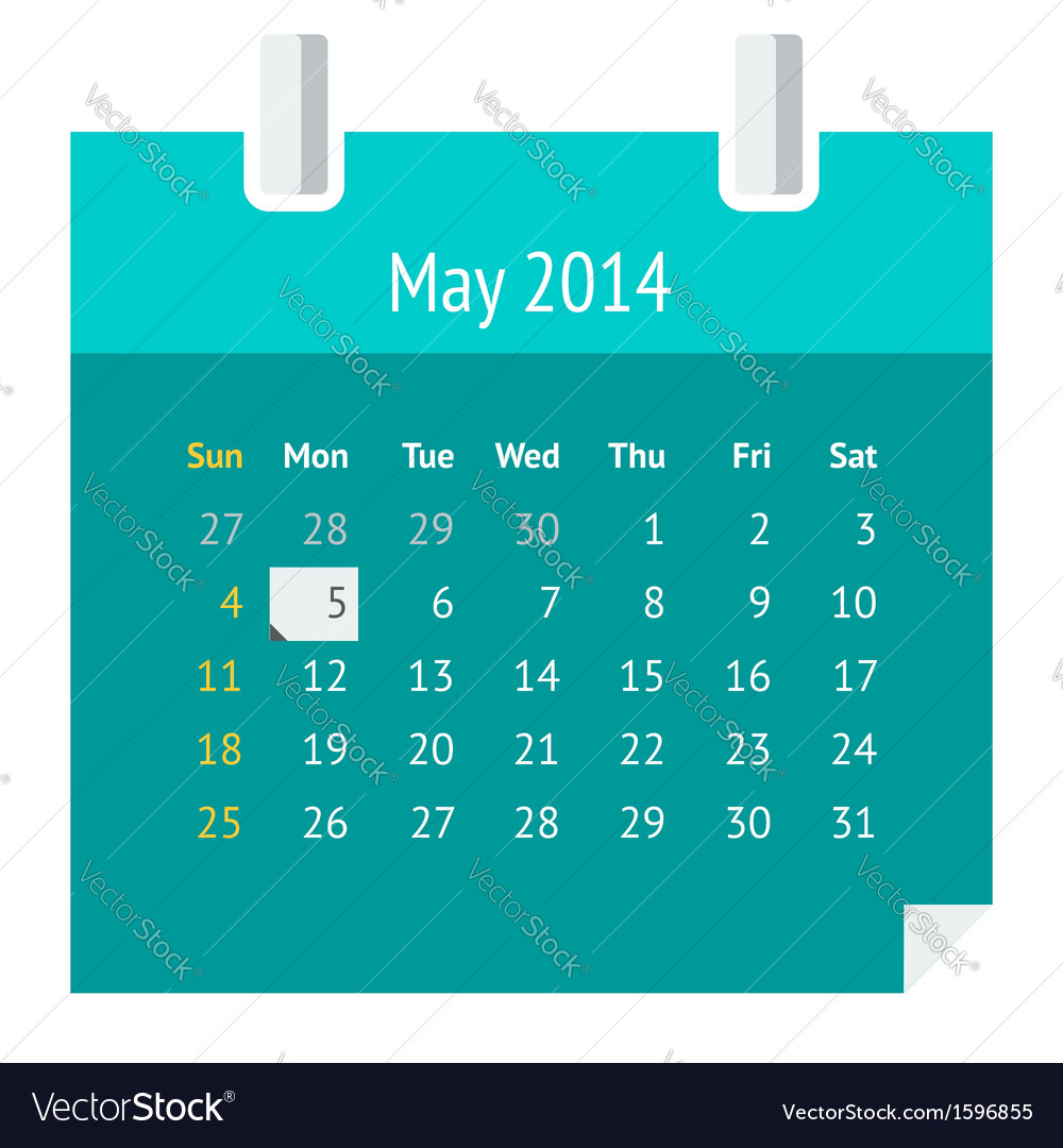 Flat calendar page for may 2014 vector | Price: 1 Credit (USD $1)