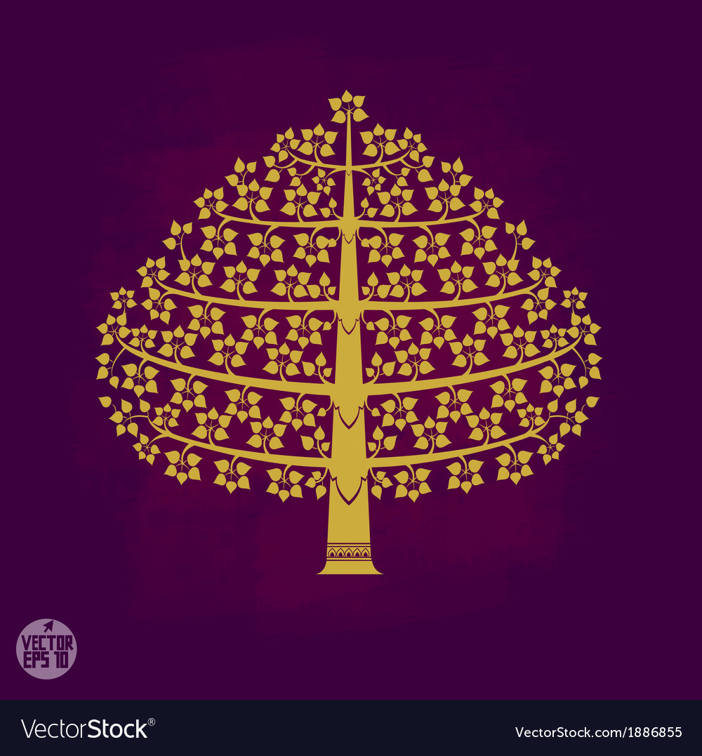 Gold bodhi tree in thai art style vector | Price: 1 Credit (USD $1)