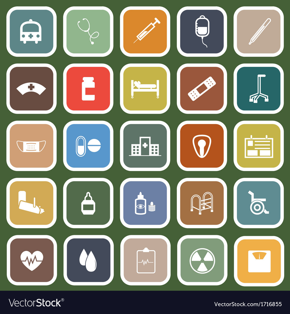 Hospital flat icons on green background vector | Price: 1 Credit (USD $1)