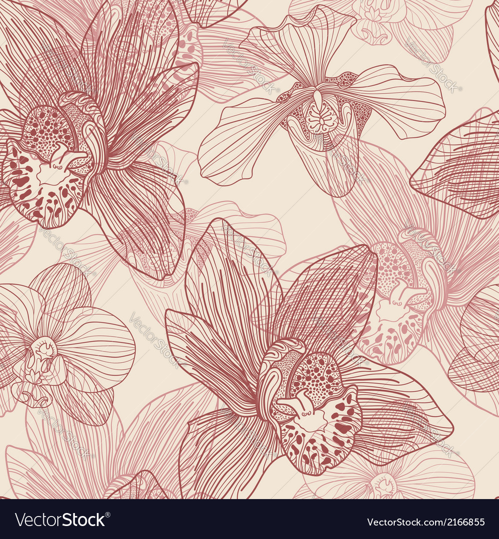 Orchid engraving seamless pattern on beige backgro vector | Price: 1 Credit (USD $1)