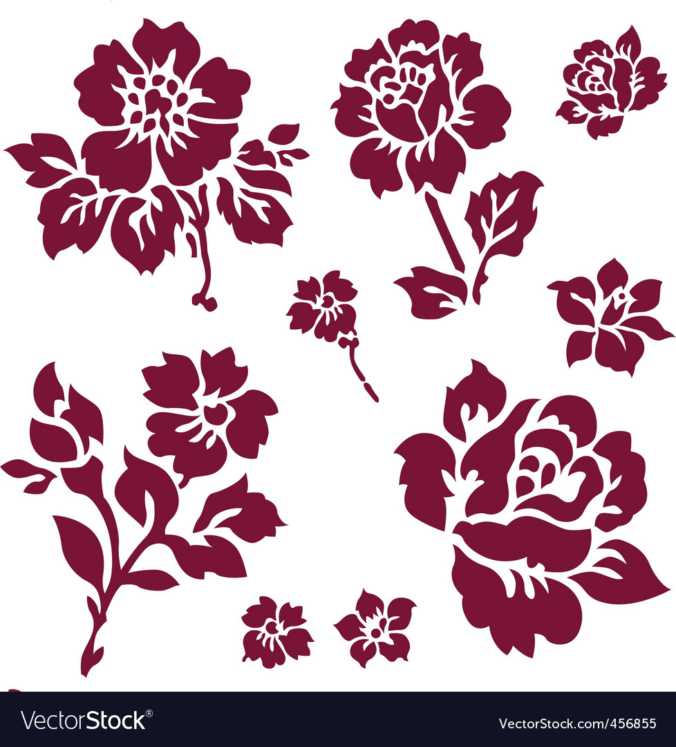 Rose and iris icons vector | Price: 1 Credit (USD $1)