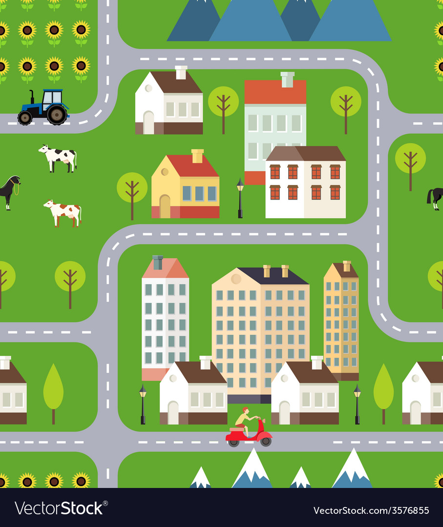 Seamless town background design vector | Price: 1 Credit (USD $1)