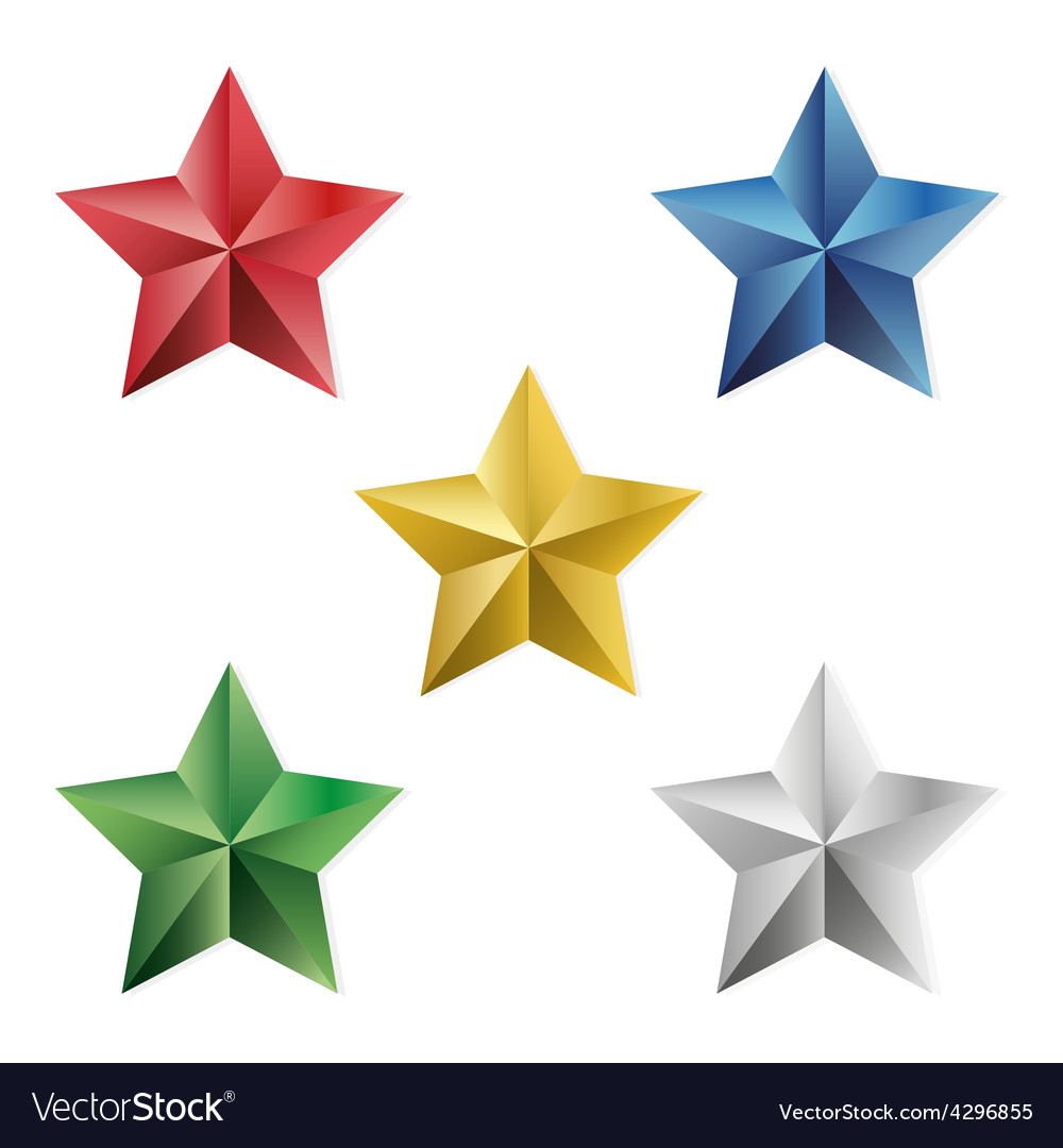 Set of precious stars isolated objects vector | Price: 1 Credit (USD $1)