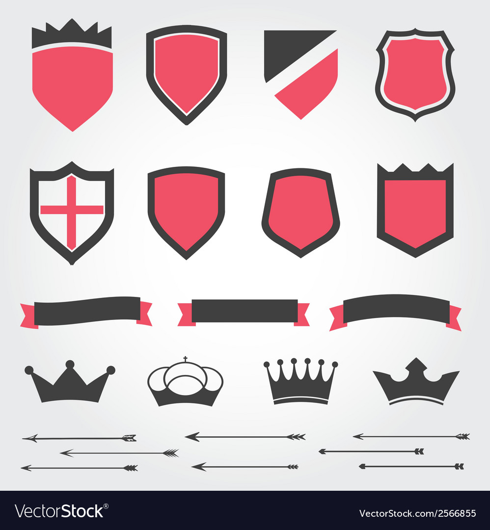 Set shields heraldic crowns ribbons arrows vector | Price: 1 Credit (USD $1)